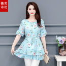 Lace / Chiffon Summer 2021 Water lake blue cherry powder L XL 2XL 3XL 4XL 5XL Short sleeve commute Socket singleton  easy Regular Crew neck Decor routine 35-39 years old Vifusvan / Weifu Shifang Printing three dimensional decorative bandage Korean version Polyester 100% Pure e-commerce (online only)