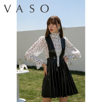 Dress Autumn 2020 black S M L Short skirt High waist straps 25-29 years old VASO (clothing) VA2036020 51% (inclusive) - 70% (inclusive) polyester fiber Polyester 55% other 45%