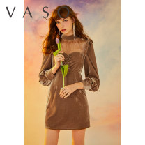 Dress Autumn 2020 Yellow pre-sale 10 days delivery S M L Short skirt singleton  Long sleeves commute Half high collar High waist Solid color zipper A-line skirt 18-24 years old Type A VASO (clothing) Retro VA2009084 More than 95% polyester fiber Polyethylene terephthalate (polyester) 97% others 3%