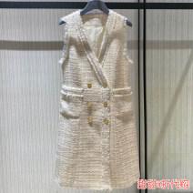 Vest Autumn 2020 Off white 2 = s, 3 = m, 4 = L, 5 = XL Medium length V-neck commute Solid color Single breasted 5401332-4202112-001 Pretend to be amashizheng 51% (inclusive) - 70% (inclusive) acrylic fibres Button