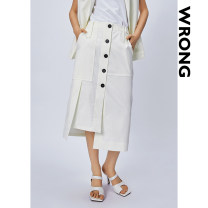 skirt Summer 2021 S M L white longuette commute Natural waist A-line skirt Solid color Type A 25-29 years old 12Q08 More than 95% Denim Wrong polyester fiber Button Polyester 100%