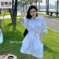 Dress Summer 2020 Yellow purple red white black light blue orange S M L XL Mid length dress singleton  Short sleeve commute V-neck High waist Solid color Single breasted Princess Dress shirt sleeve Others 25-29 years old Type A Huilinqing Korean version Three dimensional decoration of bow and ruffle