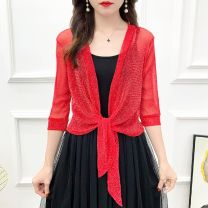 Lace / Chiffon Summer 2020 Silver Black, silver red, silver gray, silver white M (recommended 80-105 kg), l (recommended 105-128 kg), XL (recommended 128-150 kg), 2XL (recommended 150-175 kg) elbow sleeve Versatile Cardigan singleton  easy have cash less than that is registered in the accounts EBR