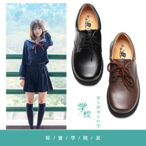 Low top shoes Interactive front line Black, dark brown Round head Superfine fiber Flat bottom Flat heel (1cm or less) Deep mouth PU Spring of 2019 Frenulum college Adhesive shoes Youth (18-40 years old) Solid color rubber Single shoes PU daily YS311-1