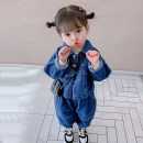 suit 90cm 100cm 110cm 120cm 130cm 140cm female spring and autumn leisure time Long sleeve + pants 2 pieces routine There are models in the real shooting Single breasted nothing Solid color Denim children Expression of love Class B Spring 2021