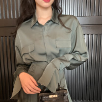 Dress Spring 2021 Satin dark green skirt S,M,L,XL Short skirt singleton  Long sleeves commute Polo collar High waist Solid color Single breasted A-line skirt routine 18-24 years old Type X Other / other Retro Button More than 95% other