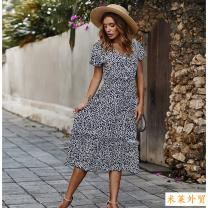 Dress Summer 2020 Yellow, red, navy M,L,S,XL Mid length dress singleton  Long sleeves V-neck High waist Broken flowers Lotus leaf sleeve