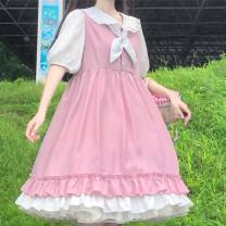 Dress Summer 2021 Pink S,M,L,XL Mid length dress singleton  Long sleeves commute High waist Solid color Socket A-line skirt routine 18-24 years old Type A More than 95% cotton