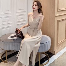 Dress Summer 2021 Apricot black S M L XL 2XL longuette singleton  Sleeveless commute One word collar High waist Solid color Condom A-line skirt other camisole 18-24 years old Type A Pink girl Korean version FJN0417-114 More than 95% other Other 100%