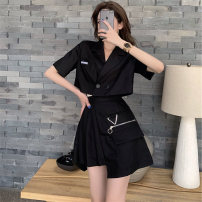 Fashion suit Summer 2021 S M L Versatile black suit + salt series cool black skirt temperament grey suit + Cool Grey pleated skirt 18-25 years old Absolute rich support 42A8 Other 100% Pure e-commerce (online only)