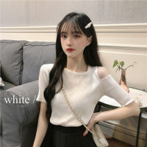 T-shirt White, black, apricot, pink S,M,L Summer 2021 Short sleeve Crew neck Self cultivation have cash less than that is registered in the accounts routine commute other 51% (inclusive) - 70% (inclusive) 18-24 years old Korean version originality Solid color 47026-zx 3D, decorative thread, thread