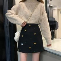 skirt Spring 2021 S,M,L Black, apricot Short skirt commute High waist A-line skirt Hand painted Type A 18-24 years old zx - 0 . eighty-one 71% (inclusive) - 80% (inclusive) Wool other Embroidery Korean version