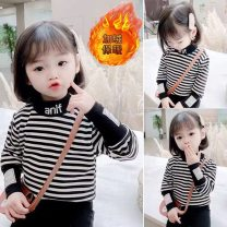 T-shirt Spring and autumn thick stripe, plush thick fine stripe, plush thick thick stripe Yu Shengli 80cm,90cm,100cm,110cm,120cm,130cm,140cm,150cm,160cm neutral winter Long sleeves High collar Korean version There are models in the real shooting nothing cotton stripe Class B Sweat absorption