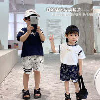 suit luson Off white, dark treasure blue, dark treasure blue expected to warehouse, off white expected to warehouse 80, 90, 100, 110, 120, 130, 140 male spring and autumn Cartoon Short sleeve + pants 2 pieces routine There are models in the real shooting Socket nothing Cartoon animation cotton