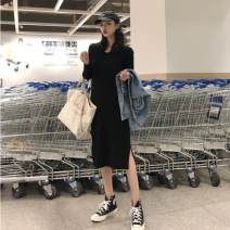 Dress Autumn of 2019 Black, Caramel Mid length dress singleton  Long sleeves commute V-neck Loose waist Solid color Socket Pencil skirt routine Others 18-24 years old Type H Korean version 51% (inclusive) - 70% (inclusive) knitting polyester fiber