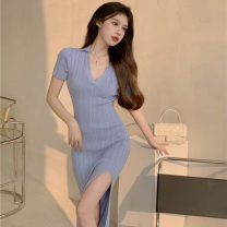 Women's large Korean version Summer 2021 Medium and long term commute Dress 214105326520+65+11 Short sleeve V-neck 18-24 years old moderate Recommendation 51% (inclusive) - 70% (inclusive) Triacetate fiber (triacetate fiber) 100% Pure e-commerce (online sales only) S M L XL violet