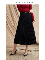 skirt Winter 2020 XS S M L XL XXL black Mid length dress commute Natural waist Pleated skirt Solid color 20AWQ90 More than 95% TIE FOR HER polyester fiber Simplicity Polyester 100% Same model in shopping mall (sold online and offline)