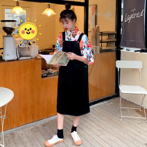 Dress Summer 2021 T-shirt and two-piece skirt M,L,XL,2XL longuette Two piece set Short sleeve commute Polo collar middle-waisted Decor Socket A-line skirt routine Others 18-24 years old Type A Korean version printing More than 95% other