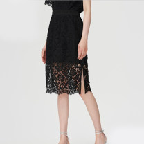 skirt Summer 2020 3/M,4/L,5/XL black Middle-skirt A-line skirt Type A 30-34 years old 51% (inclusive) - 70% (inclusive) Elegant.prosper / YAYING cotton Hollowing out