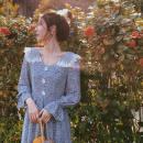 Square Dance Dress M,L,XL,2XL blue Long sleeves 18-24 years old Broken flowers routine longuette High waist polyester fiber