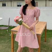 Dress Summer 2021 Blue, lotus root pink, red Average size Mid length dress singleton  Short sleeve commute square neck High waist Solid color zipper A-line skirt puff sleeve Others 25-29 years old Type A Retro Fold, button, zipper 51% (inclusive) - 70% (inclusive) brocade polyester fiber