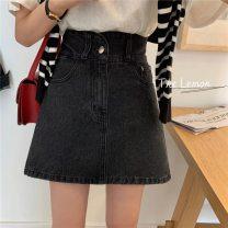 skirt Summer 2021 S,M,L Retro grey Short skirt Versatile High waist Denim skirt Solid color Type A 18-24 years old 51% (inclusive) - 70% (inclusive) Denim Chloroprene Pocket, button, zipper 401g / m ^ 2 (inclusive) - 500g / m ^ 2 (inclusive)
