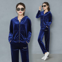 Middle aged and old women's wear Autumn of 2019 S M L XL XXL XXXL leisure time suit Two piece set 40-49 years old Cardigan routine Showcai polyester Polyester 96% polyurethane elastic fiber (spandex) 4% 96% and above zipper trousers