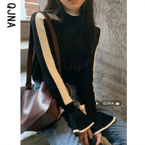 Wool knitwear Winter 2020 S M L White black Long sleeves singleton  Socket other More than 95% Regular routine commute Straight cylinder High collar pagoda sleeve Color matching Korean version QJN6029 18-24 years old Qingjiaona Other 100% Pure e-commerce (online only)