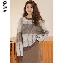 sweater Winter 2020 S M L Green coffee Long sleeves Socket singleton  Regular other 95% and above Crew neck Regular commute routine other Straight cylinder Regular wool Keep warm and warm 18-24 years old Qingjiaona QJN9882 Other 100% Pure e-commerce (online only)
