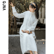Dress Spring 2021 white S M L XL Mid length dress singleton  Long sleeves commute stand collar Loose waist Solid color Socket Princess Dress Petal sleeve Others 18-24 years old Type A Qingjiaona literature Resin fixation QJN8308 More than 95% brocade other Other 100% Pure e-commerce (online only)