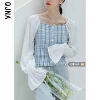 shirt blue S M L Spring 2021 other 96% and above Long sleeves commute Regular square neck Socket routine lattice 18-24 years old Straight cylinder Qingjiaona Korean version QJN8026 Button Other 100% Pure e-commerce (online only) blending