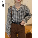 shirt Haggard S M L Spring 2021 other 96% and above Long sleeves commute Regular Crew neck Single row multi button shirt sleeve lattice 18-24 years old Straight cylinder Qingjiaona Korean version QJN9052 Other 100% Pure e-commerce (online only)
