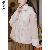 short coat Winter 2020 S M L Apricot Long sleeves Medium length routine singleton  Straight cylinder commute routine Polo collar Single breasted lattice 18-24 years old Qingjiaona 96% and above pocket QJNV8041 other Other 100% Pure e-commerce (online only)
