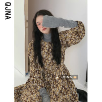Dress Winter 2020 Yellow blue S M L Miniskirt singleton  Long sleeves commute Crew neck High waist Broken flowers Socket Big swing bishop sleeve Others 18-24 years old Qingjiaona Korean version More than 95% other Other 100% Pure e-commerce (online only)