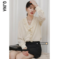 shirt Apricot S M L Spring 2021 other 96% and above Long sleeves commute Regular Lotus leaf collar Single row multi button shirt sleeve Solid color 18-24 years old Straight cylinder Qingjiaona Korean version QJN5588 Lotus leaf edge Other 100% Pure e-commerce (online only) Chiffon