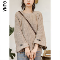 sweater Winter 2020 S M L Grey Khaki Pink Long sleeves Socket singleton  Regular other 95% and above Crew neck Regular commute routine Solid color Straight cylinder Regular wool Keep warm and warm 18-24 years old Qingjiaona QJN6100 Other 100% Pure e-commerce (online only)