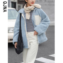 short coat Winter 2020 S M L Light blue Beige Long sleeves routine thickening singleton  Straight cylinder commute routine stand collar zipper Solid color 18-24 years old Qingjiaona 96% and above pocket QJN896 other cotton Other 100% Pure e-commerce (online only)
