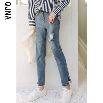 Jeans Winter 2020 Picture color S M L XL trousers High waist Pencil pants routine 18-24 years old Worn and washed buttons Dark color QJN1810 Qingjiaona 96% and above Other 100% Pure e-commerce (online only)