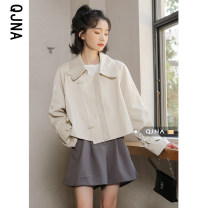 short coat Spring 2021 S M L XL Apricot Long sleeves have cash less than that is registered in the accounts routine singleton  Straight cylinder Sweet shirt sleeve tailored collar Single row two buttons 18-24 years old Qingjiaona 96% and above QJN3322 other Other 100% Pure e-commerce (online only)