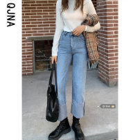 Jeans Spring 2021 blue S M L XL Ninth pants High waist Wide legged trousers routine 18-24 years old washing Cotton denim light colour QJN5069 Qingjiaona 96% and above Other 100% Pure e-commerce (online only)