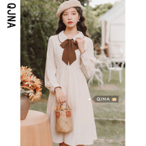 Dress Winter 2020 Apricot S M L Mid length dress singleton  Long sleeves commute Doll Collar High waist Solid color Socket A-line skirt routine 18-24 years old Qingjiaona literature Bandage More than 95% other other Other 100% Pure e-commerce (online only)