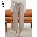 Casual pants khaki S M L Winter 2020 Ninth pants Wide leg pants High waist Versatile routine 18-24 years old 96% and above QJN8026 Qingjiaona Other 100% Pure e-commerce (online only)