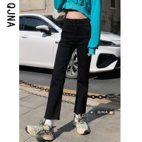 Jeans Spring 2021 black S M L Ninth pants High waist Straight pants routine 18-24 years old Multiple pockets Cotton denim Dark color Qingjiaona 96% and above Other 100% Pure e-commerce (online only)