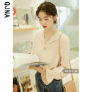 shirt Sand apricot S M L Spring 2021 other 96% and above Long sleeves Versatile Regular V-neck Socket pagoda sleeve Solid color 18-24 years old Straight cylinder Qingjiaona QJN3033# Other 100% Pure e-commerce (online only)