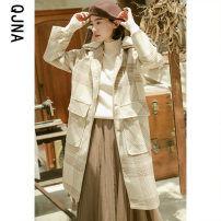 woolen coat Winter 2020 XS S M L Brown (thickened cotton) apricot (thickened cotton) other 95% and above Medium length Long sleeves commute Single breasted other other lattice Straight cylinder Korean version QJN8522 Qingjiaona 18-24 years old Button Solid color Tweed Other 100%