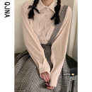 shirt Milky white S M L Spring 2021 other 96% and above Long sleeves commute Regular Polo collar Single row multi button routine Solid color 18-24 years old Straight cylinder Qingjiaona Korean version QJNA6036 Other 100% Pure e-commerce (online only)