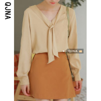 Lace / Chiffon Spring 2021 Light goose yellow S M L Long sleeves commute Socket singleton  easy Super short V-neck Solid color 18-24 years old Qingjiaona QJN725 bow Korean version Other 100% Pure e-commerce (online only)