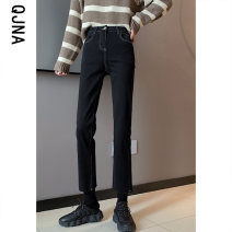 Jeans Winter 2020 black S M L XL Ninth pants High waist Straight pants routine 18-24 years old washing Cotton elastic denim Dark color QJN5037 Qingjiaona 96% and above Other 100% Pure e-commerce (online only)