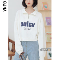 Sweater / sweater Spring 2021 white S M L Long sleeves have cash less than that is registered in the accounts Socket singleton  routine Polo collar easy commute routine letter 18-24 years old 96% and above Qingjiaona Korean version other QJN8567 printing Other 100% Pure e-commerce (online only)