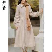 woolen coat Winter 2020 S M L Apricot other 95% and above have more cash than can be accounted for Long sleeves commute Single breasted bishop sleeve Polo collar Solid color Straight cylinder Korean version QJN9823 Qingjiaona 18-24 years old Button Solid color Other 100% Pure e-commerce (online only)